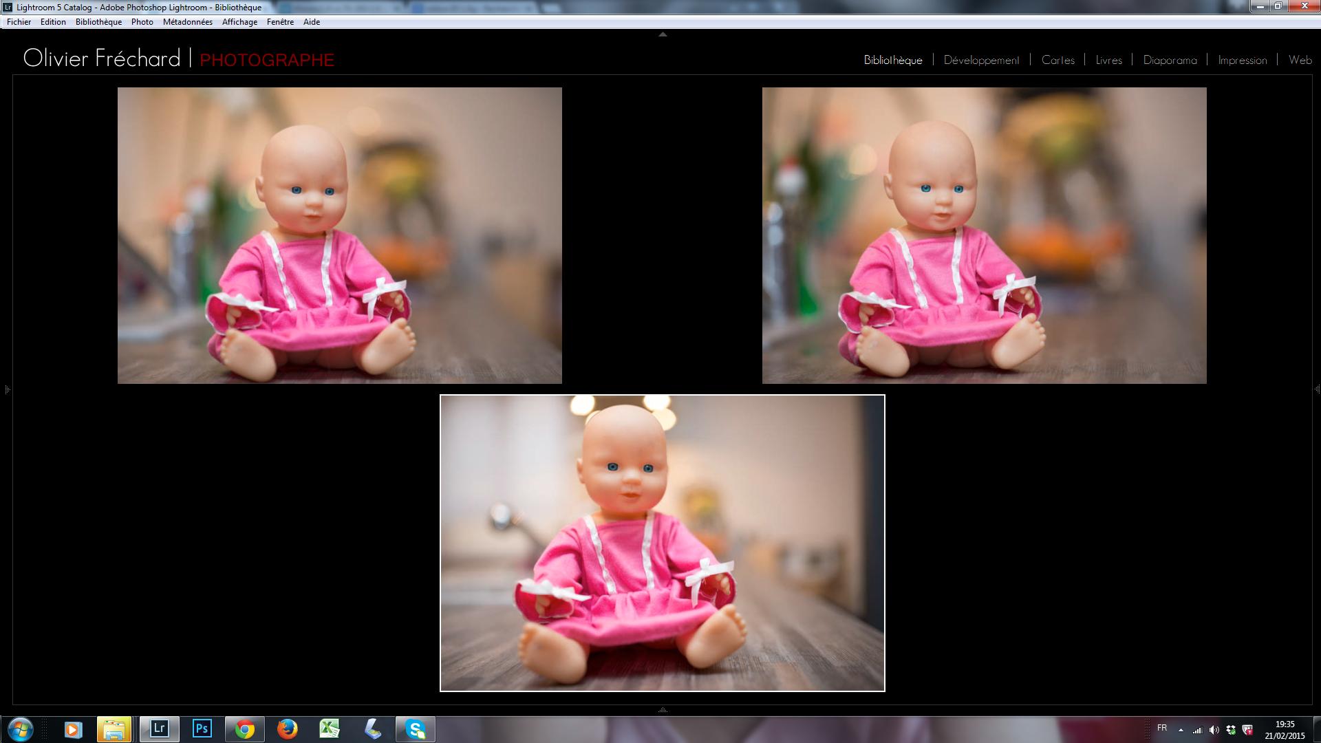 Le même sujet avec 3 cadrages/focales différents : 85mm/1.8 en haut à gauche- 200mm/2.8 en haut à droite - 35mm/1.4 en bas